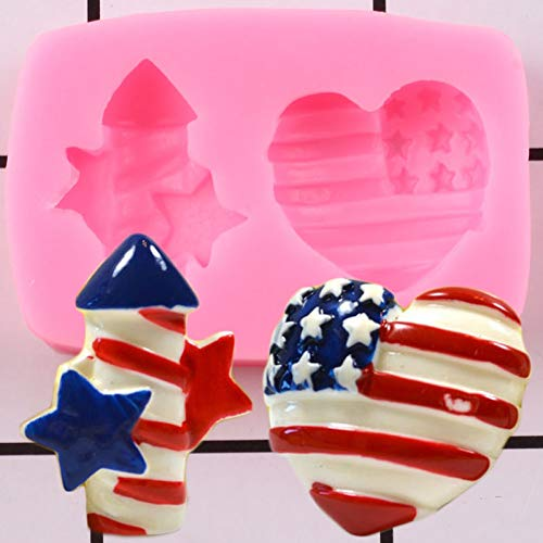 GEYKY 3D Patriotic Firecracker Heart Silicone Mold Topper Cake Decorating Candle Clay Candy Chocolate Mould