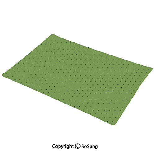 Green Placemats Set of 6,Vintage Retro Pop Art Style 50s 60s Inspired Popular Polka Dots Artwork Washable Fabric Place mats Table Mats, 12x18 inch,for Home Kitchen Office,Fern Green and Black