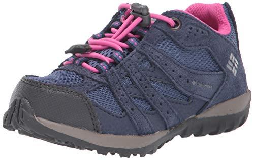 Columbia Youth Redmond Waterproof Hiking Shoe, Bluebell/Pink ice, 4 US Unisex Big Kid
