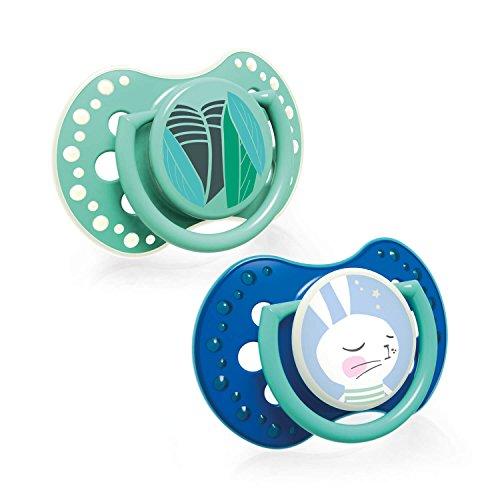 LOVI 2x Silikon-Schnuller   ab 6 bis 18 Monate   Hygienische Abdeckung   Schützt den Saugreflex   Leuchtschnuller   BPA frei   Follow the Rabbit Boy   Blau