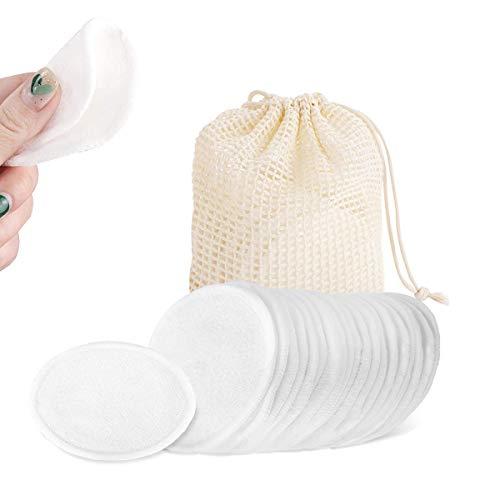 BERYCH 20 Stück Waschbare Abschminkpads, Wiederverwendbare Wattepads, Bambus und Baumwolle, Weich & Umweltschutz Schonend Abschminktücher