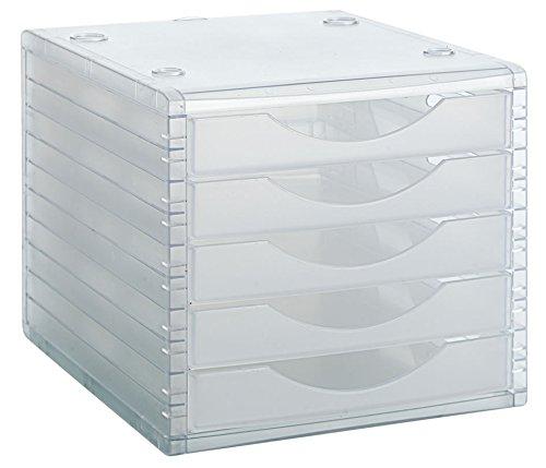 Archivo 2000 Archivotec Serie 4000 - Módulo de 5 cajones, color cristal traslúcido