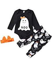 Conjuntos Bebé Niña Halloween 2pcs Conjunto Ropa Bebe Unisex Recien Nacido Invierno Algodón Pijama Niños Impresión Mono Muchacha de Manga Larga Tops + Pantalones vpass