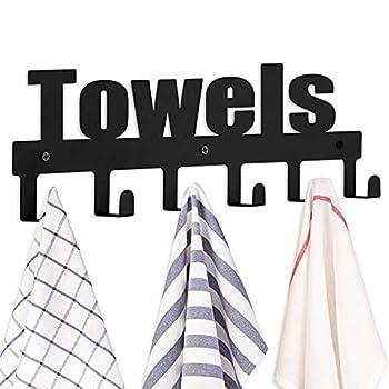 Goutoports Towel Rack Wall Mount Bathroom Towel Holder Kitchen Metal Holder Rack Bold Font Door Hooks Rustproof and Waterproof 6 Hooks-Black