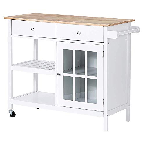 ChooChoo Rolling Kitchen Island, Portable Kitchen Cart Wood Top Kitchen Trolley with Drawers and Glass Door Cabinet, Wine Shelf, Towel Rack, White