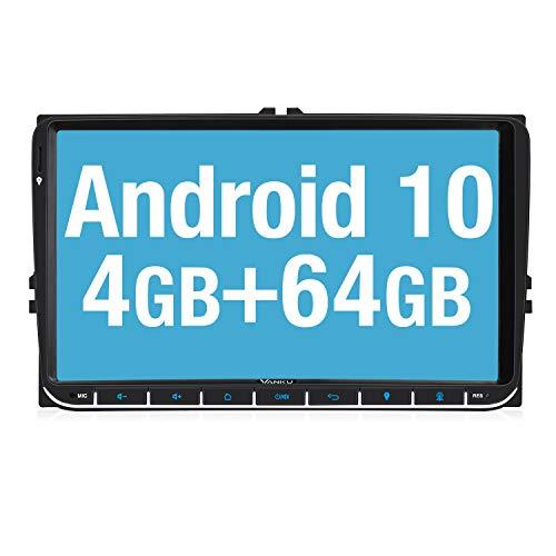 Vanku 9' Android 10 Autoradio de Coche Compatible para VW Radio con PX6, 4G + 64G/ GPS Navegador con Qualcomm Bluetooth 5.0, Soporte WiFi, Control del Volante, Dab+, SD/USB