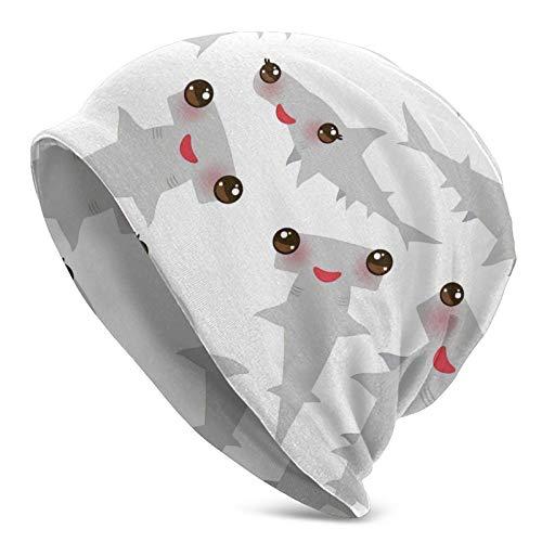 FLDONG Sea Ocean Kawaii - Gorro de punto para hombre, diseño de tiburón, color gris