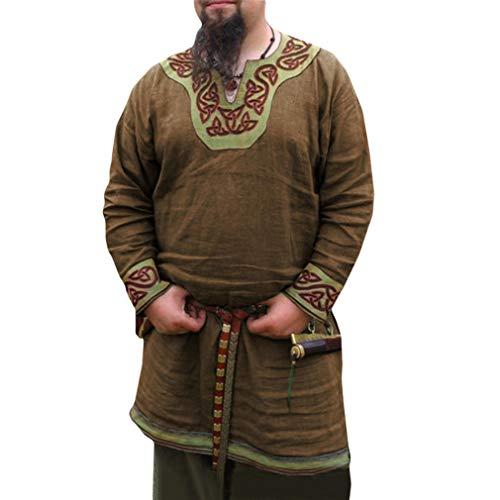 WEIMEITE Ritter Cosplay Kostüme Mittelalter V Kragen Tunika Halloween Kostüme Für Männer Wikinger Pirat Rollenspiel Druck Karneval Shirts