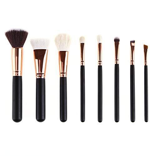 MEIYY Pinceau De Maquillage 8Pcs Pinceaux De Maquillage Set + Sac Poudre Fondation Blush Smoky Eyeshadow Brosse De Mélange Noir Kits