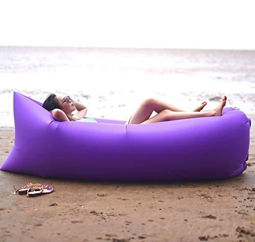 Ligstoel, opblaasbaar, draagbaar, deken van nylon, premium kwaliteit, waterbestendig, oppervlak van PU-kunststof, voor strand, reizen, camping, picknicks en mu-festivals.
