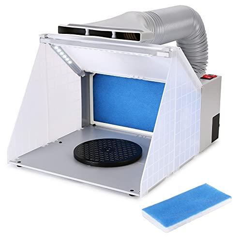 AGPTEK Cabina de pulverización, Kit de cabina de pintura con aerógrafo con 3 tubos de luz LED, Plato giratorio y manguera de extensión de escape, Cabina portátil de aerografía