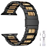 iiteeology Compatible with Apple Watch Band 44mm 42mm, Natural Wooden Olivewood Stainless Steel Link Bracelet Strap for Apple iWatch Series 5/4/3/2/1 - Black