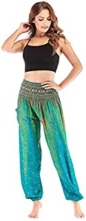 Elonglin Women's Harem Hippie Pants Baggy Boho Patterned High Waist Smocked Waist Thin with Pockets Lounge Trousers for Yo...