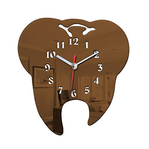 Easyinsmile Unique Tooth Wall Clock Silent Dentist Decoration Mirror Decorative Clinic Ornament Dental Surgeon Gift Battery Powered (Coffee)