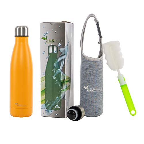 J.A.N-GreenLife Trinkflasche Edelstahl – 500ml, auslaufsicher, doppelwandig, Thermosflasche für heiß und kalt, Edelstahl Trinkflasche Ideal für Sport, Laufen, Fahrrad, Yoga, Wandern und Camping.