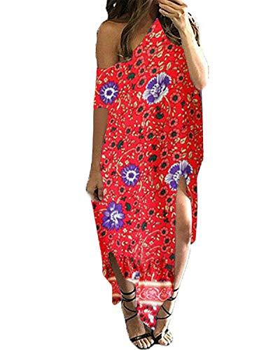 Kidsform Vestido Ocasional del Hombro de Larga Floja de Gran tamaño para Mujeres Floral-Rojo XX-Grande