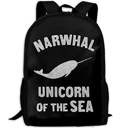 Rucksack,NAR-Whals Uni-Corn of The Sea.PNG Mochila para Estudiantes, Atractivas Mochilas para Estudiantes para Correr En El Gimnasio,43x28x16cm