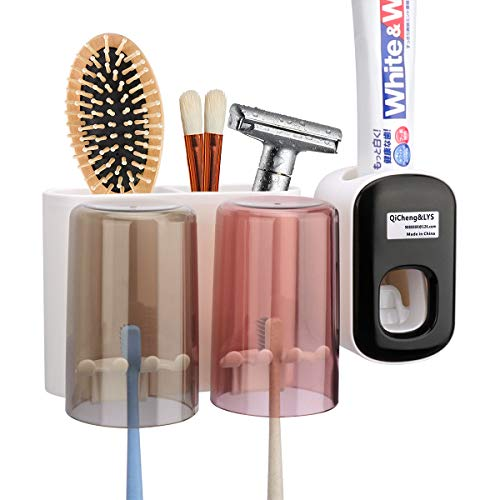 QiCheng & LYS Badbürstbecher Zahnbürstenhalter Wandmontage mit automatischem Zahnpastaspender Mehrzweckbecher (2 Tassen)