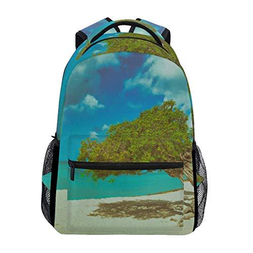 poiuytrew Green Divi Tree Blue Sea Landscape Backpack Students Shoulder Bags Travel Bag College School Backpacks