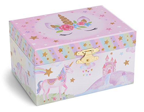 Jewelkeeper Girl's Musical Jewelry Storage Box with Spinning Unicorn, Glitter Rainbow and Stars Design, The Unicorn Tune 5