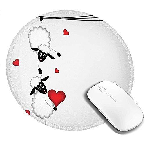 Runde Mausunterlage Mausepad,Schaf Paar Mit Herzformen In Liebe Valentines Hängen Auf Spaß Comic Cartoon 20Cm Wasserdicht Mousepad,Rutschfeste Mousemat