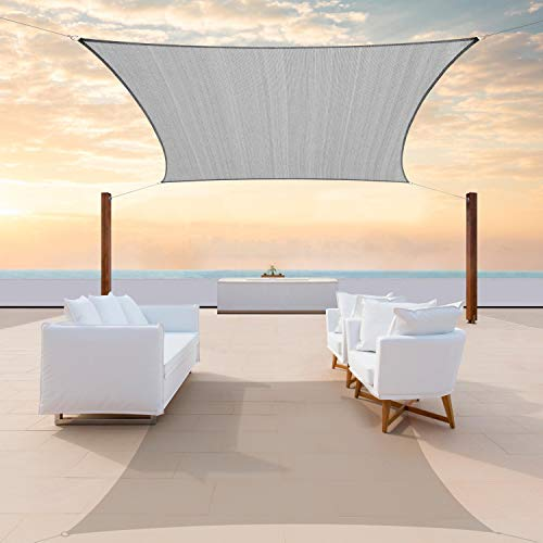 ColourTree 8' x 12' Grey Rectangle Sun Shade Sail Canopy Awning Shelter Fabric Cloth Screen - UV Block UV Resistant Heavy Duty Commercial Grade - Outdoor Patio Carport - (We Make Custom Size)