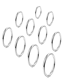 FINREZIO 10-15PCS Women s 1MM Stainless Steel Plain Band Knuckle Stacking Rings Fashion Thin Midi Rings Comfort Fit Size 2-11