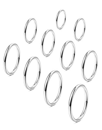 FINREZIO 10PCS Women's 1MM Stainless Steel Plain Band Knuckle Stacking Rings Fashion Thin Midi Rings Comfort Fit Size 2-11 Silver Tone