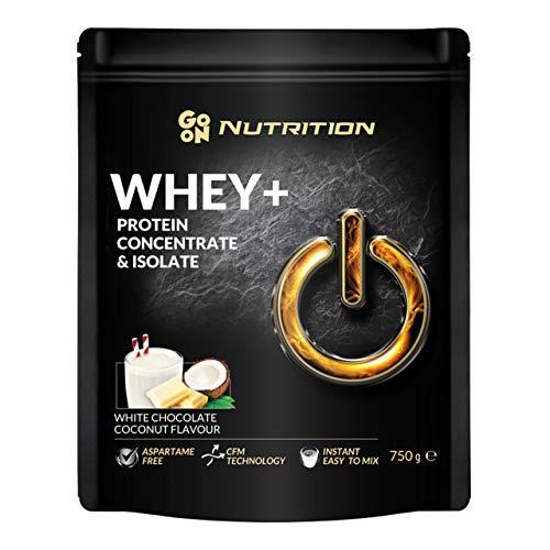 Go On Nutrition Whey Confezione da 1 x 750g Concentrado y Aislado de Proteína de Suero: Instant con Aminoácidos BCAA Sin Aspartamo (White Chocolate Coconut)