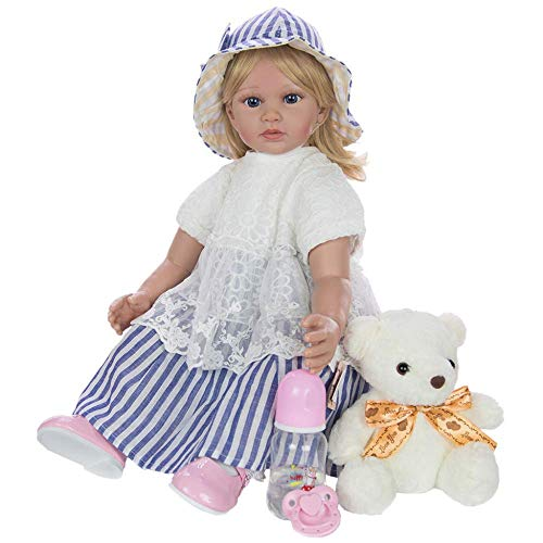 ETDWA Blond Reborn Toddler Dolls Blue Striped Hat Silicone Lifelike Princess Girl Doll pour l'anniversaire des Enfants, 60cm