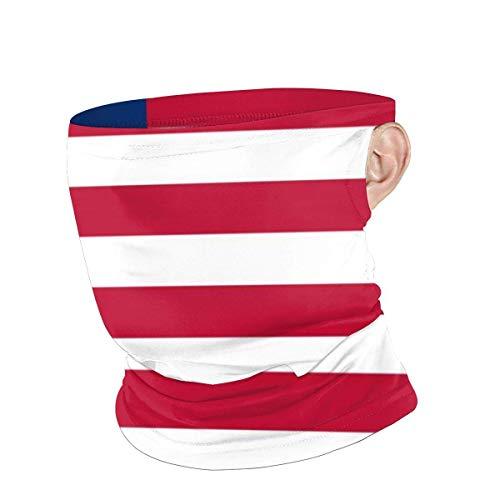 N / A Pañuelo para Cuello con Orejeras,Bandera De Liberia Personalizada Adulto Cubierta De La Cara Elástico Calentador De Cuello Hombre Mujer Pasamontañas para Motocicleta,Partido,Pesca