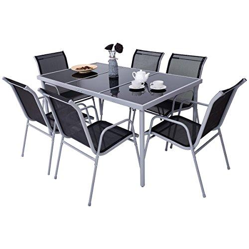 Costway 7PCS Ensemble Table et Chaise de Jardin avec Chassis en Metal,...