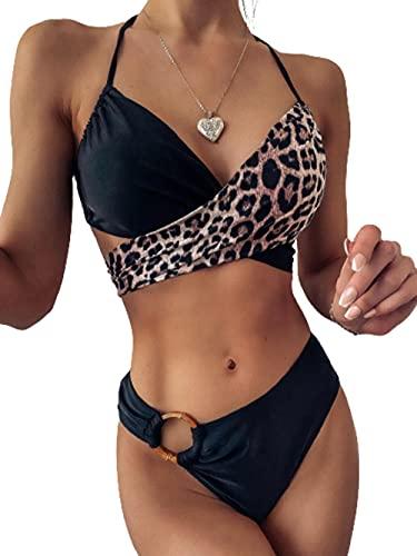 Impresión Inferior Traje de baño Bikini,Bikini de Costuras fruncidas con Estampado de Leopardo,Traje de baño de Playa de Color Liso Dividido-Negro_L,Sexy Mujer Verano Bañador Retro Cintura Alta