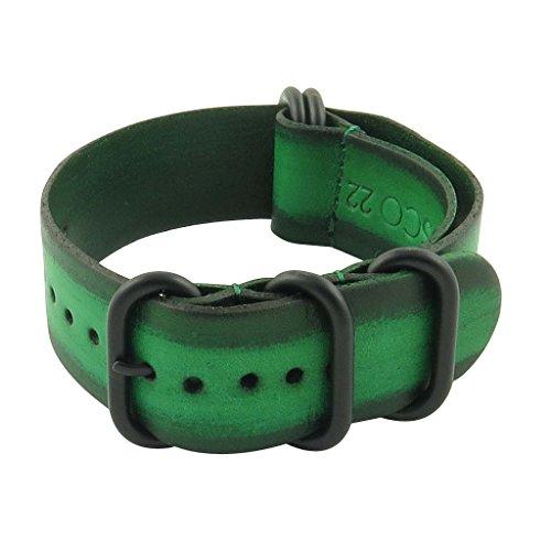 StrapsCo - Cinturino in pelle vintage, 18 mm, con anelli neri opachi