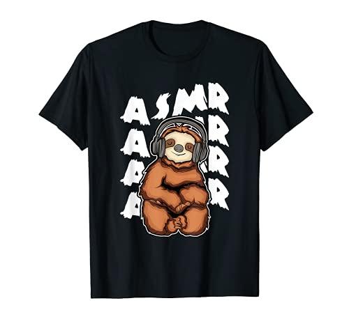 ASMRS Sloth With Headphones ASMR T-Shirt