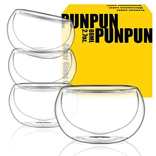 PunPun Tea cups Set of 4-Double Wall Borosilicate Glass-Espresso Cups Set-Heatproof Insulating-Teacups glass-2.7oz. 80ml Demitasse Gift Box-Hand Made-Lead free