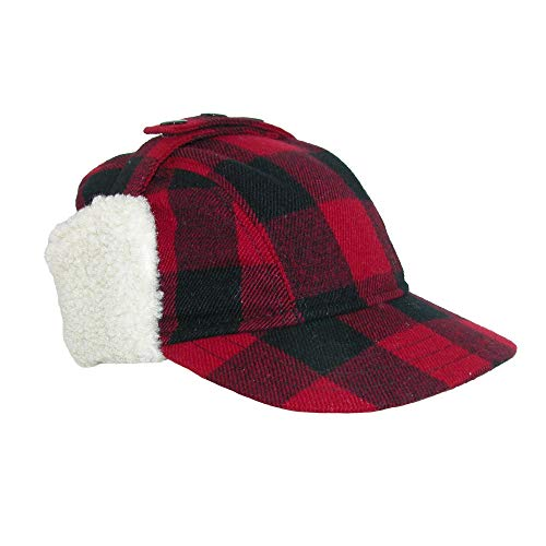 Broner Men s Wool Plaid Outdoor Cap with Sherpa Earflaps, Large, Black Red