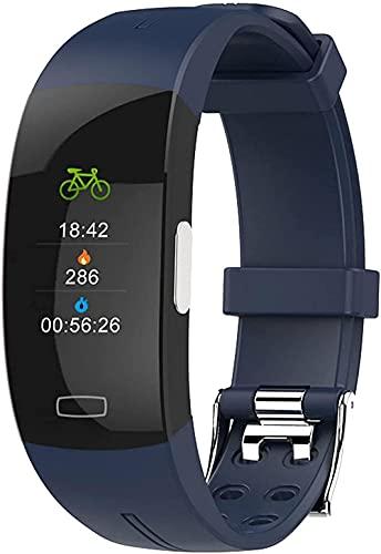 Panduo YLB Rastros de Fitness Reloj Inteligente para Hombres y Mujeres con Monitor de Ritmo cardíaco Presión Arterial IP67 Pulsera Deportiva Inteligente a Prueba de Agua Android iOS (Color : Blue w)