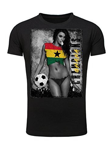 Legendary Items Herren T-Shirt WM 2018 Trikot Sexy Girl Frau Fußball Weltmeisterschaft Vintage Ghana schwarz S