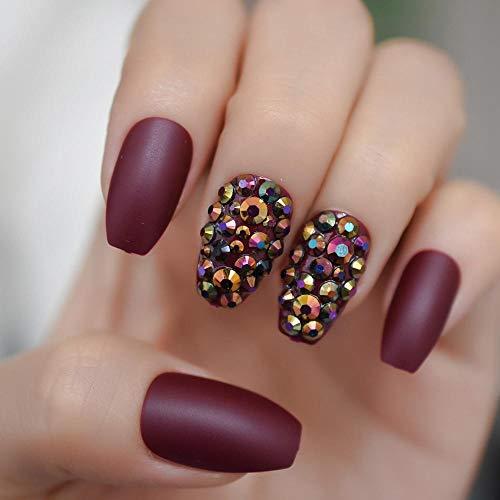 TJJF Marron Cercueil Nails Attractive Strass Personnalisé De Luxe Faux Ongles Conseils Mat Solide Couleur Ongles Artificiels