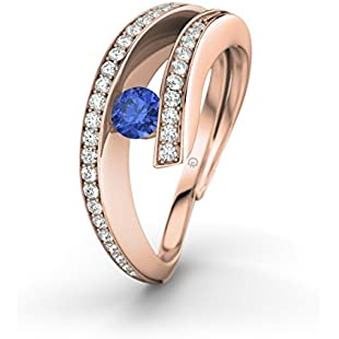 Freya 21DIAMONDS Women's Ring 21PREMIUM Engagement Ring Blue Sapphire Princess Cut 18K Rose Gold Engagement Ring Rotgold mit blauem Saphir