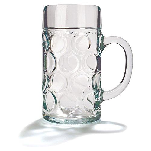 Deutscher Glasbierkrug, 1Liter (2 Pint), klassischer Bierkrug, Maßkrug