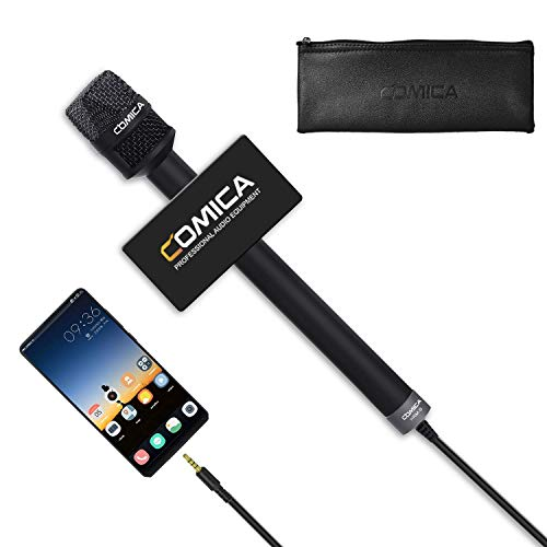 Handheld Microphone for Smartphones, COMICA CVM-HRM-S Cardioid Condenser Interview Microphone for iPhone/iPad Android Phones, Recording Mic for Interview, Report, Presentation, Livestream, and Church