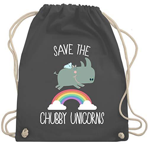 Comic Shirts - Save the chubby unicorns Regenbogen - Unisize - Dunkelgrau - WM110 - Turnbeutel und Stoffbeutel aus Bio-Baumwolle