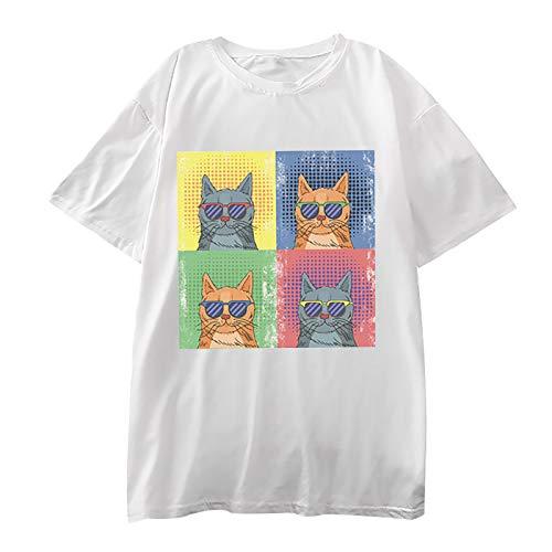 Frauen T-Shirt Casual Cartoon Cat Print Tops 3D-Grafik Pullover Kurzarm O-Ausschnitt Tunika Bluse(L,Weiß)