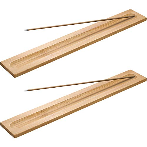 Boao 5 Pieces Bamboo Wood Incense Sticks Holder Incense Burner Ash Catcher, 9.06 Inches Long (Wood Color)