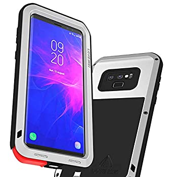 LOVE MEI Case for Samsung Galaxy Note 9 Shockproof Metal Cover Supports Wireless Charging Full Body Protective Rugged Samsung Note 9 Cover Excludes Screen Protector  Silver