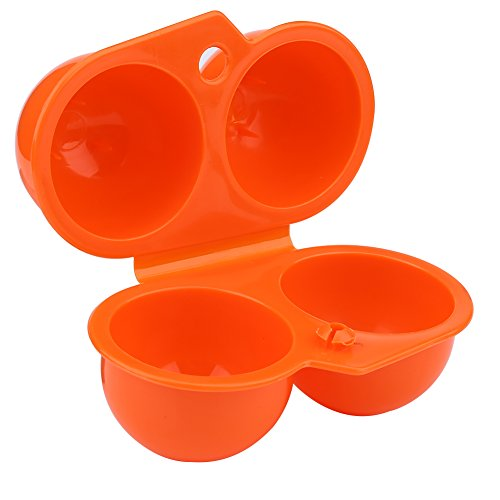VGEBY1 Eierbox, Tragbare Eier Aufbewahrungsbox Eierbehälter für Outdoor Camping Picknick BBQ Wandern Schule (2 Fach) (Orange)