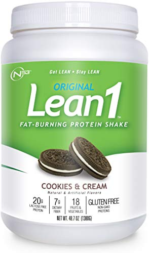 Lean 1 Cookies & Cream Protein Powder Meal Replacement Shakes By Nutrition 53, Lactose & Gluten Free with Green Coffee Bean Extract, 23 Serving Tub - 42 oz