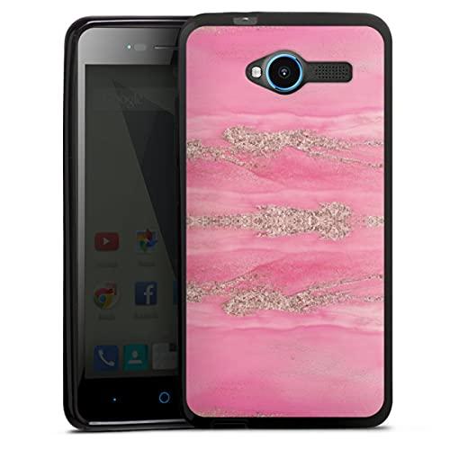 DeinDesign Silikon Hülle kompatibel mit ZTE Blade L3 Hülle schwarz Handyhülle Glitzer Erscheinungsbild Marmor pink